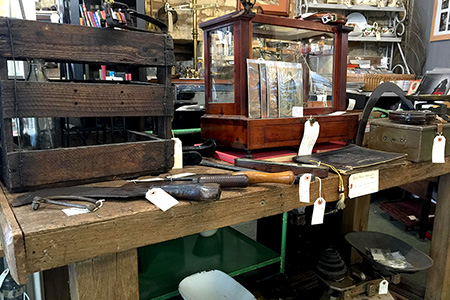 Vintage weighing scales, woodworking tool's, trench art and related ephemera and GB postal history
